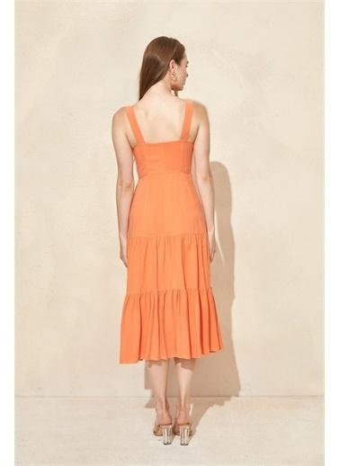 Setre Mor Kalın Askılı Midi Elbise Oranj